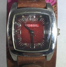 FOSSIL STAINLESS STEEL WOMENS  QUARTZ WATCH 12 HOUR DIAL Second Hand