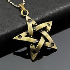 Unisex's Bronze Hollow Pentagram Charm Pendant Necklace Leather Chain
