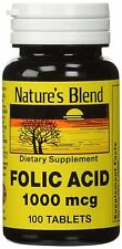 Nature's Blend Folic Acid 1000mcg (1mg) Tablets 100ct