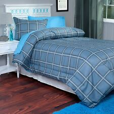 2 Piece Twin XL Comforter and Sham Blue Gray Kids Room Dorm Room TXL