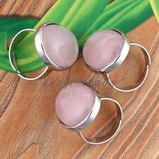 1x Silver Plated Rose Quartz Stone Oval From Adjustable Finger Ring Jewelry