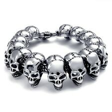 "8.5"" Men's Heavy Punk Gothic Rocker Biker Skull Stainless Steel Bracelet Bangle"