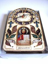 Chrisitian Holyland wall clock home blessing decorated gems nib jesus new