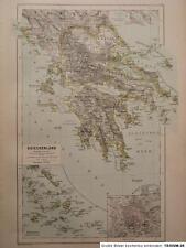 Landkarte von Griechenland, Hartleben´s Verlag um 1890, Lithographie