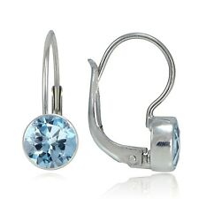 Sterling Silver 3.2ct Blue Topaz Bezel-Set Round Leverback Earrings, 7mm