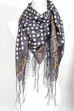 Dot with letter  print fringe 100% silk scarf, Valentino pattern, black/gold