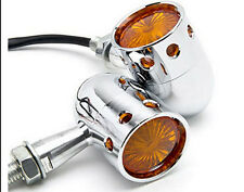 2x Chrome Retro Motorcycle Turn Signals Bullet Blinker Amber Indicator Light New