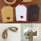 100X Heart Kraft Paper Gift Tags Wedding Scallop Card Label Blank Luggage+String