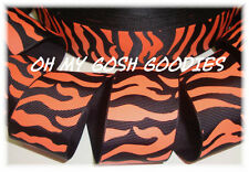 1.5 BLACK ORANGE ZEBRA TIGER CHEERLEADER GROSGRAIN RIBBON CHEER 4 HAIRBOW