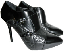 $1175 Christian Dior CITY Black Cannage Quilted Boot Buckle Pump Bootie 39.5-8.5