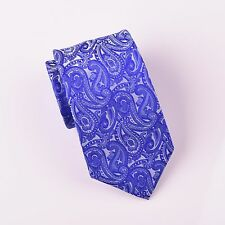 Gold Series Designed in Italy Large Paisley Woven Tie, Light Blue Boss Fashion