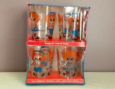 Vintage Rare Raggedy Ann & Andy Plastic Party Glasses 1960's New Old Stock