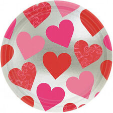 8 x Hearts Valentines PLATES Paper Metallic Party Plates Key to your Heart