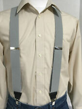 "New, Men's Lt. Gray, XL, 1.5"", Adj. Bostonian Suspenders / Braces, Made in USA"