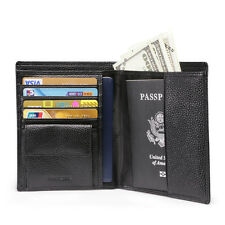 Men Leather RFID Passport Protector Credit Card Long Wallet With Coin Pocekt