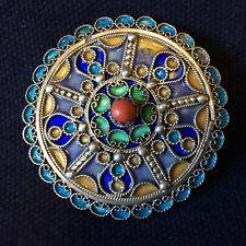 Bijoux disque d'argent et émaux Berbère Amazigh Maroc Algérie 4,9 cm de diamètre