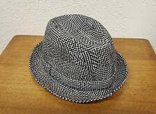 Men's Borsalino Fedora Hat - Black White Herringbone - Size 6 1/2 - Italian