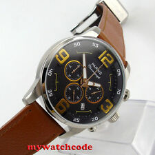 44mm parnis black dial week date window quartz Full chronograph mens watch P603