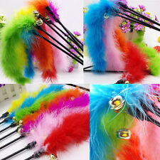 Cat Funny Kitten Pet Teaser Colorful Turkey Feathers Interactive Toy Chaser Wand