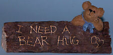 "Boyds Bears desk sign,""Harry--On The Job"" I need a bear hug #4108, office bear"