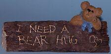 """Boyds Bears desk sign,""""Harry--On The Job"""" I need a bear hug #4108, office bear"""