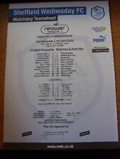 07/08/2010 Colour Teamsheet: Sheffield Wednesday v Dagenham And Redbridge  . No