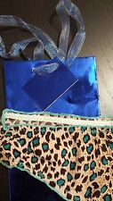 BLUE COLOR LEOPARD SEXY UNDERWEAR  SZ 6 FOR WOMANS WITH BLUE SHINNY  GIFT BAG