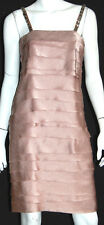 LANVIN Champagne Satin Tiered Jeweled Strap Cocktail Dress 36