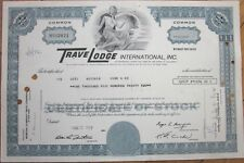 1972 Hotel Stock Certificate: 'TraveLodge International, Inc.' - Blue