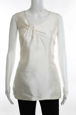 Proenza Schouler White Sleeveless V-Neck Silk Blouse Size Medium
