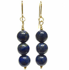 9ct Gold Drop Earrings with Genuine Lapis Lazuli 8 mm Gemstone Beads