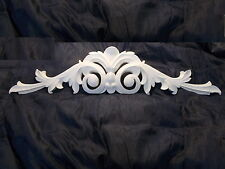 LARGE 2 FOOT ORNATE DECORATIVE PEDIMENT DOUBLE SCROLL MOULDING WHITE