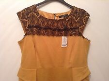 "BNWT "" NEXT "" Size 16 Mustard Lace Top Peplum Office Work Occasion Day Dress New"