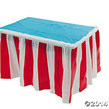 BIG TOP CARNIVAL CIRCUS DECORATION RED AND WHITE STRIPED TABLE SKIRT PLEATED NEW