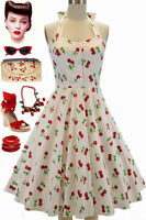 50s Style Miss Mabel White CHERRY BOMB Print Pinup HALTER Sun Dress w/BUTTONS