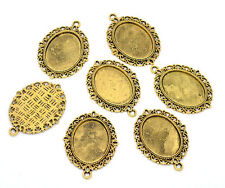 10Pcs Gold Tone Oval Frame Cameo Settings Pendants Jewelry Diy Charms 39x29mm