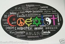"(#10) Different Languages COEXIST 6.5"" x 4"" Oval window sticker decal (896)"