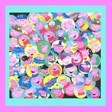 100 Precut assorted PEPPA PIG Movie BOTTLE CAP IMAGES Variety 1 inch discs