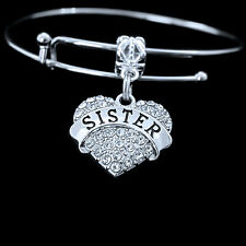 Sister Bracelet crystal heart charm style best gift jewelry sorority too