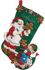 "Bucilla 16"" Christmas Felt Stocking Kit ""Gingerbread Santa"" Santa baking cookies"