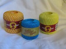 Lot of 3 Large Spools of Tatting Crochet Thread Assorted Colors 100% Cotton