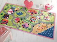 Matrix Kiddy Girls World Roads Maps Kids / Childrens Play Rug 80x120cm