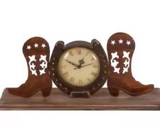 Decorative Cowboy Boots Horseshoe Rustic Country Mantel or Table Clock