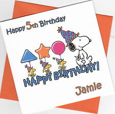 Personalised Handmade Snoopy Birthday Card - Son, Daughter, Brother, Sister, etc