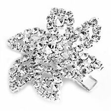 "Silver Plated Crystal Rhinestone Hair Barrette Clip Wedding 1.62"" FASHION ED"