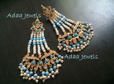 Indian weddings earrings jewellery.bollywood chand bali Gold Pearl Turquoise