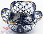 Gzhel Porcelain candy dish bowl basket Hand-painted Author's work gold plated