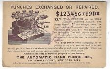 1894 New York UX12 Postal Card Advertising The Automatic Bank Punch Co