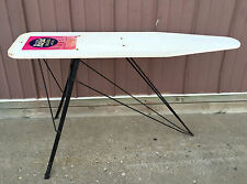 "Vtg RID-JID DELUXE White WOOD Black IRON Legs IRONING BOARD w/LABEL 54"" x 14"""