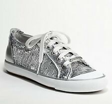 Coach Signature Silver Sequin Barrett Sneakers Shoes Women's Size 7.5